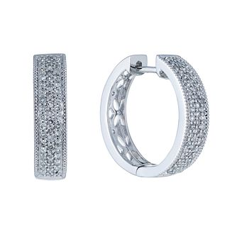9ct White Gold Diamond Hoop Earrings - Product number 2263327