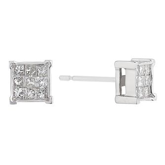 18ct white gold 40 point princess cut cluster earrings - Product number 2263378