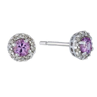 9ct white gold diamond and pink sapphire earrings - Product number 2263556