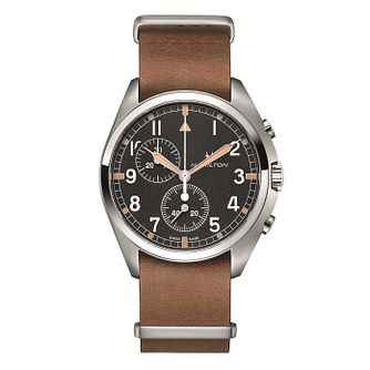 Hamilton Khaki Pilot Pioneer Chrono Men's Brown Strap Watch - Product number 2265958