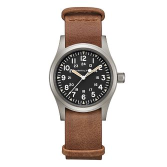 Hamilton Khaki Field Unisex Brown Leather Strap Watch - Product number 2265974
