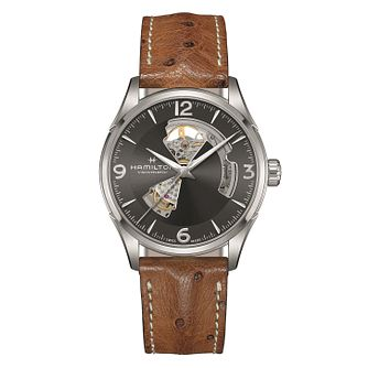 Hamilton Jazzmaster Open Heart Men's Leather Strap Watch - Product number 2266032