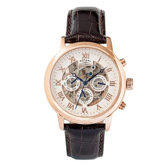 Rotary Men's Rose Gold Plated Skeleton Leather Strap Watch - Product number 2267926