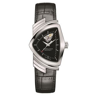 Hamilton Ventura Open Heart Men's Black Leather Strap Watch - Product number 2268388