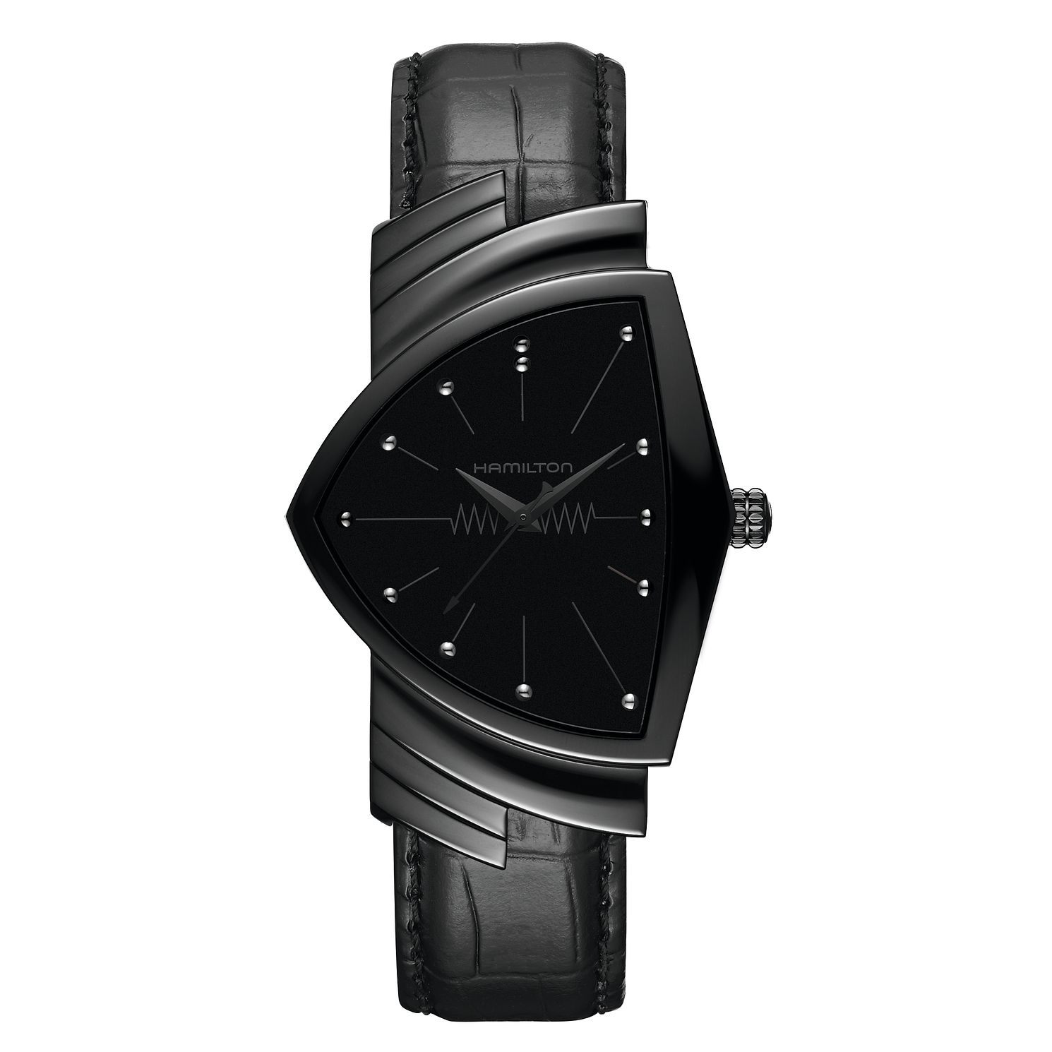 Hamilton Ventura Ladies' Black Leather Strap Watch - Product number 2271192
