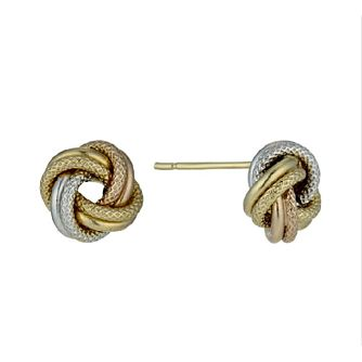 9ct yellow, white and rose gold knot stud earrings 8mm - Product number 2272628
