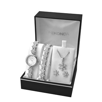 Sekonda Ladies' Crystal Watch Bracelet Earring & Pendant Set - Product number 2286599