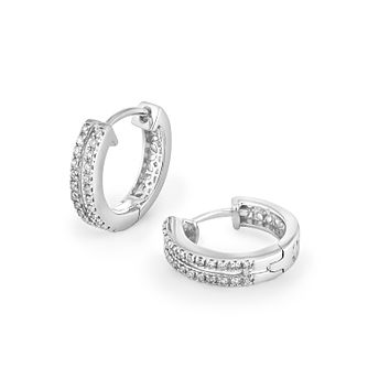 Silver & Diamond Hoop Earrings - Product number 2290413