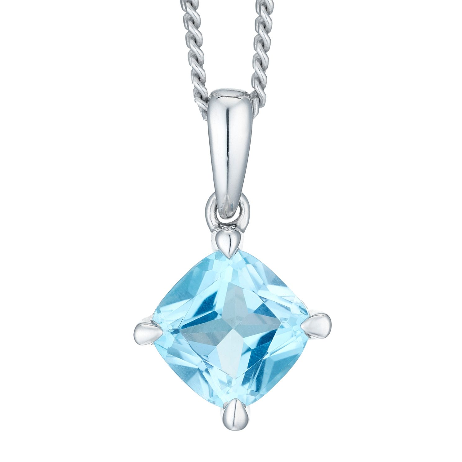 Sterling Silver Swiss Blue Topaz & Diamond Pendant - Product number 2290588