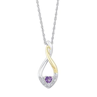 Silver & Yellow gold Diamond & Amethyst Heart Drop Pendant - Product number 2290596