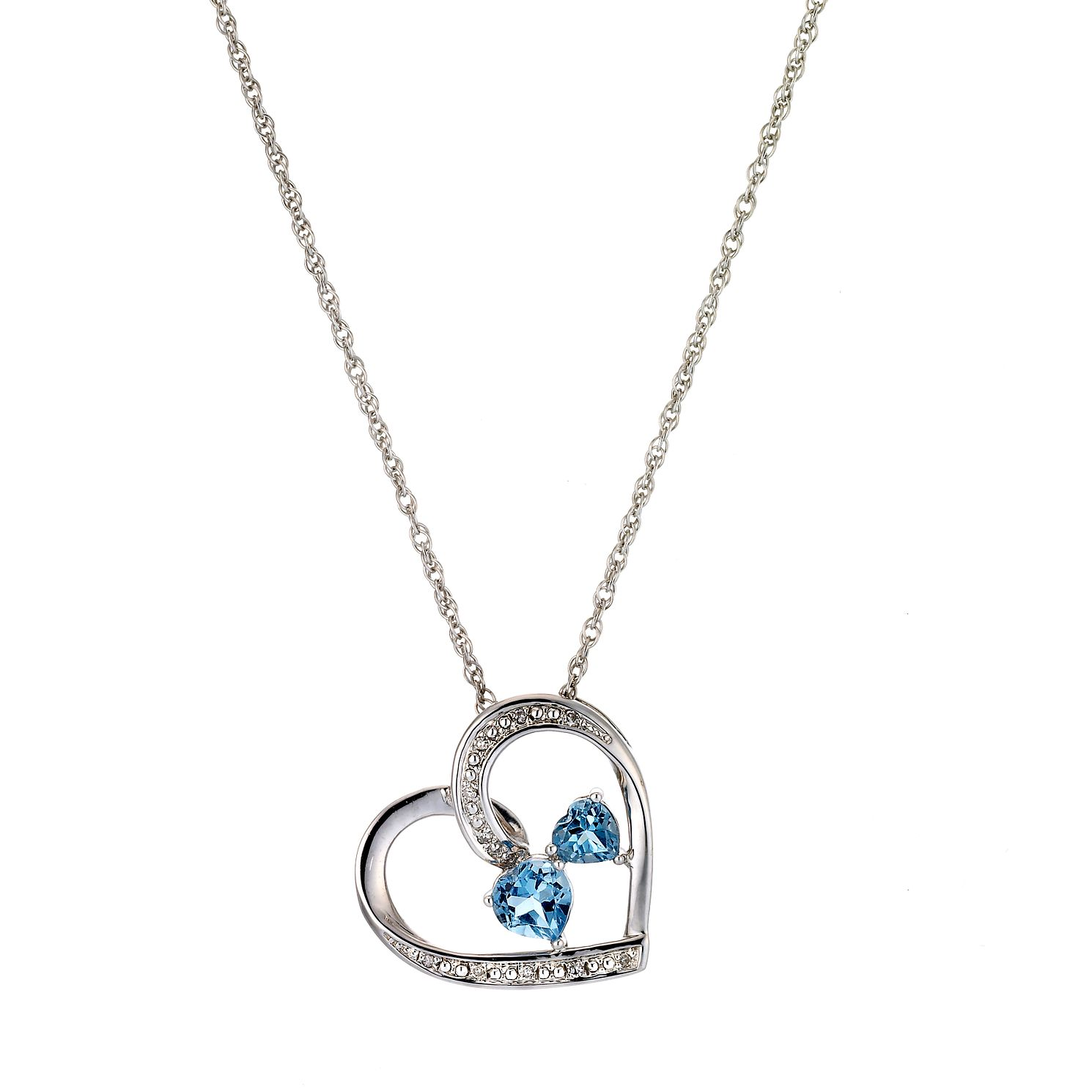 Silver, Diamond and Blue Topaz Heart Pendant - Product number 2291002
