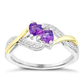 Argentium Silver & Yellow Gold Amethyst & Diamond Heart Ring - Product number 2292238