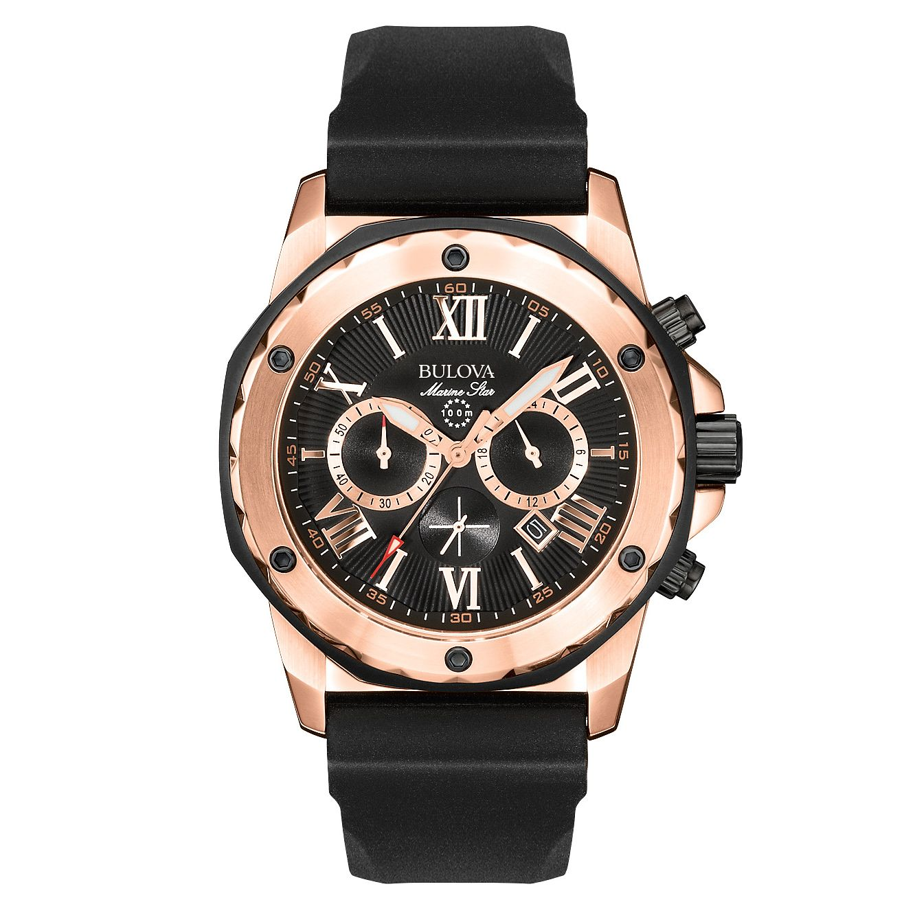 Bulova Marine Star Men's Black Rubber Strap Watch - Product number 2293021