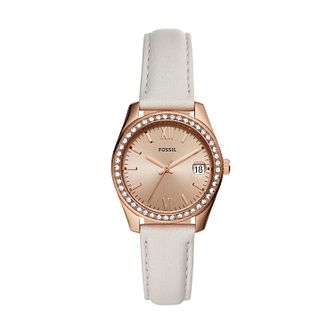 Fossil Scarlette Mini Ladies' Grey Leather Strap Watch - Product number 2293145