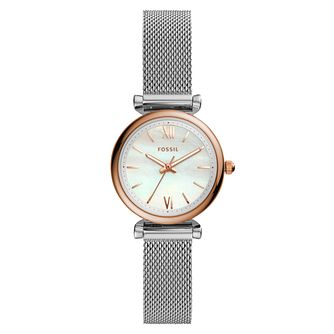 Fossil Carlie Ladies' Two Tone Mesh Bracelet Watch - Product number 2293528