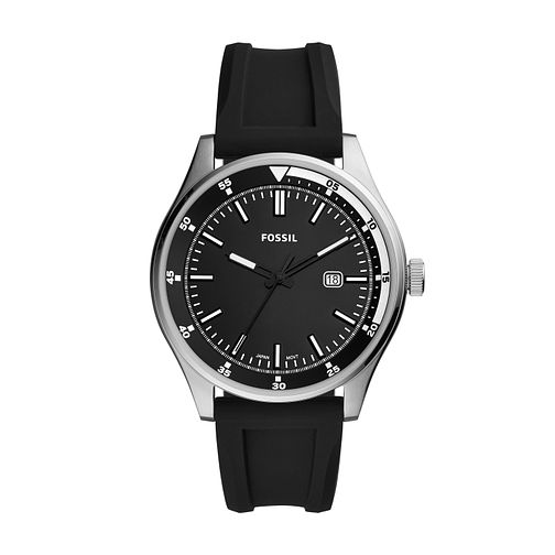 Fossil Belmar Men's Black Rubber Strap Watch - Product number 2293625