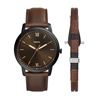 Fossil Minimalist Brown Leather Strap Watch & Bracelet Set - Product number 2293641