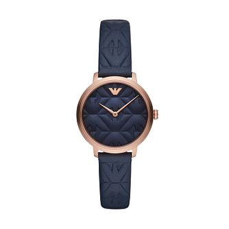 Emporio Armani Ladies' Blue Leather Strap Watch - Product number 2293803