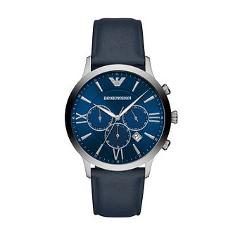 Emporio Armani Men's Blue Leather Strap Watch - Product number 2293846
