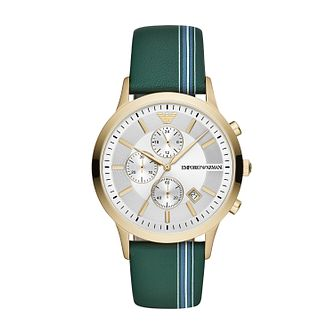 Emporio Armani Men's Green Leather Strap Watch - Product number 2293951