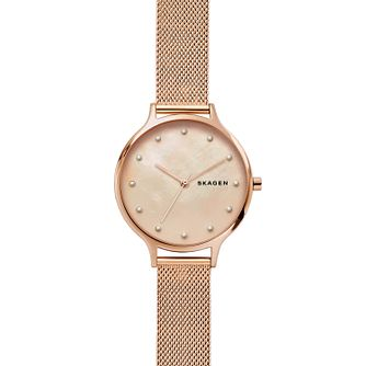 Skagen Anita Ladies' Rose Gold Tone Mesh Bracelet Watch - Product number 2294060
