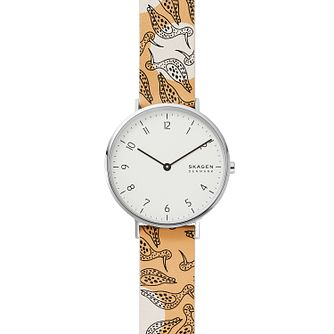 Skagen Aaren Ladies' Yellow Illustrated Leather Strap Watch - Product number 2294109