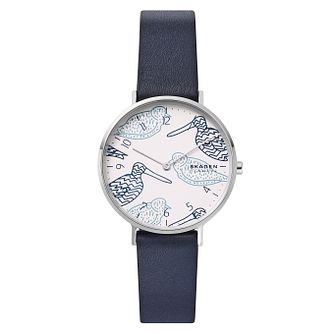 Skagen Aaren Ladies' Blue Leather Strap Watch - Product number 2294184