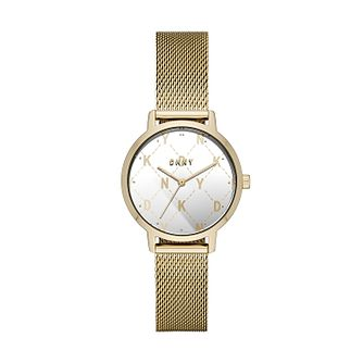 DKNY Modernist Ladies' Yellow Gold Tone Mesh Bracelet Watch - Product number 2294249