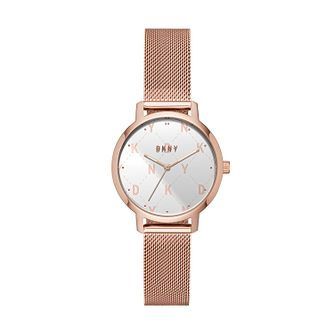 Dkny Modernist Ladies' Rose Gold Tone Mesh Bracelet Watch - Product number 2295156