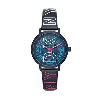 DKNY Modernist Ladies' Blue Logo Leather Strap Watch - Product number 2295555