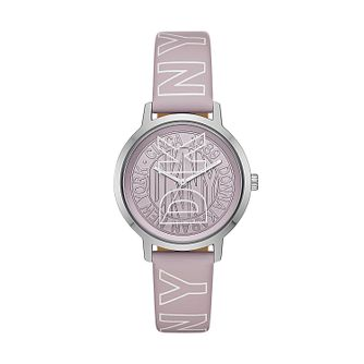 DKNY Modernist Ladies' Lilac Logo Leather Strap Watch - Product number 2295563