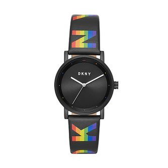 DKNY Soho Rainbow Ladies' Black Strap Watch - Product number 2295598