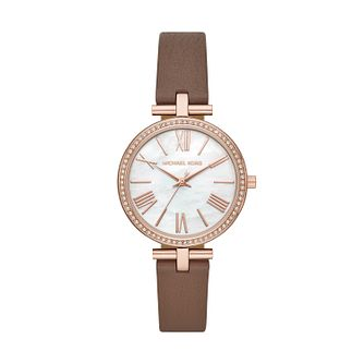 Michael Kors Maci Ladies' Brown Leather Strap Watch - Product number 2295601
