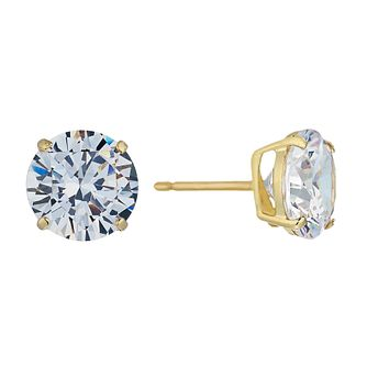 9ct Yellow Gold Cubic Zirconia 8mm Stud Earrings - Product number 2296071
