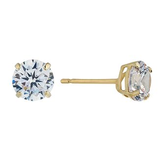9ct Yellow Gold Cubic Zirconia 6mm Stud Earrings - Product number 2296098