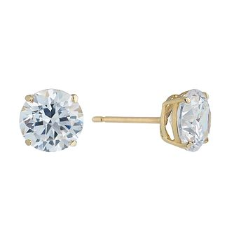 9ct Yellow Gold Cubic Zirconia 7mm Stud Earrings - Product number 2296101