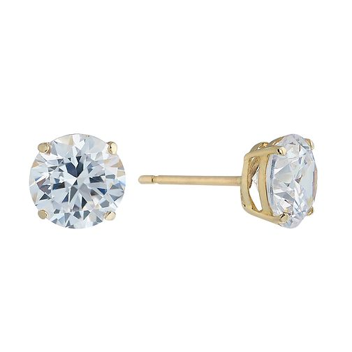 119760850 9ct Yellow Gold & 7mm Round Cubic Zirconia Stud Earring - Product number  2296101