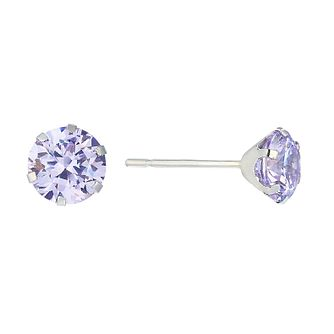 9ct White Gold Lavender Cubic Zirconia 5mm Stud Earrings - Product number 2296160