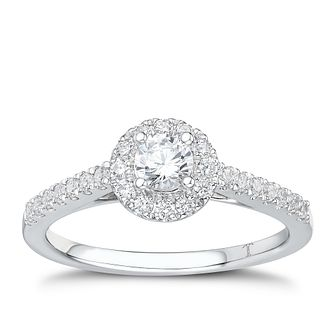 Tolkowsky 18ct white gold 1/2ct I-I1 diamond halo ring - Product number 2296179