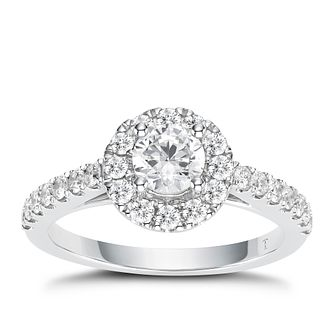 Tolkowsky 18ct White Gold 1ct Total Diamond Halo Ring - Product number 2296349