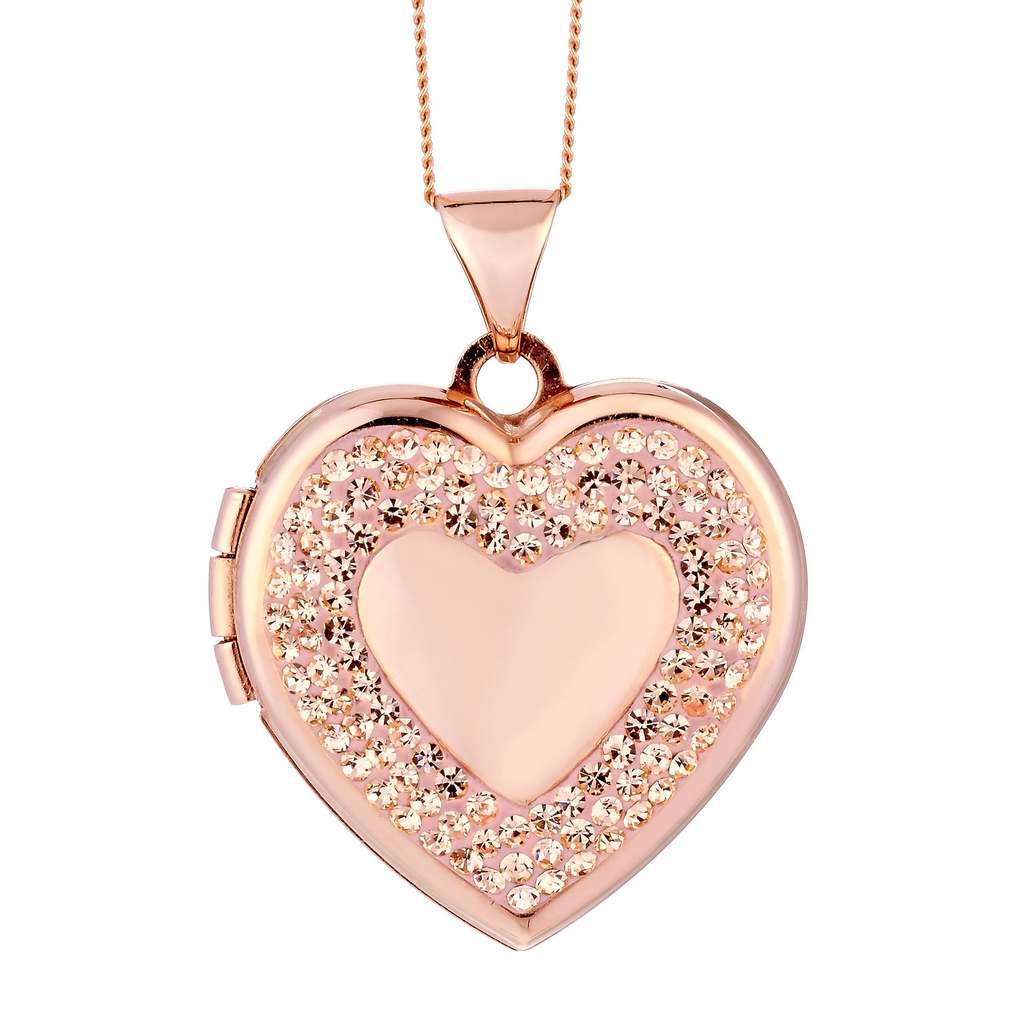 9ct Rose Gold & Champagne Crystal Heart Locket - Product number 2300834