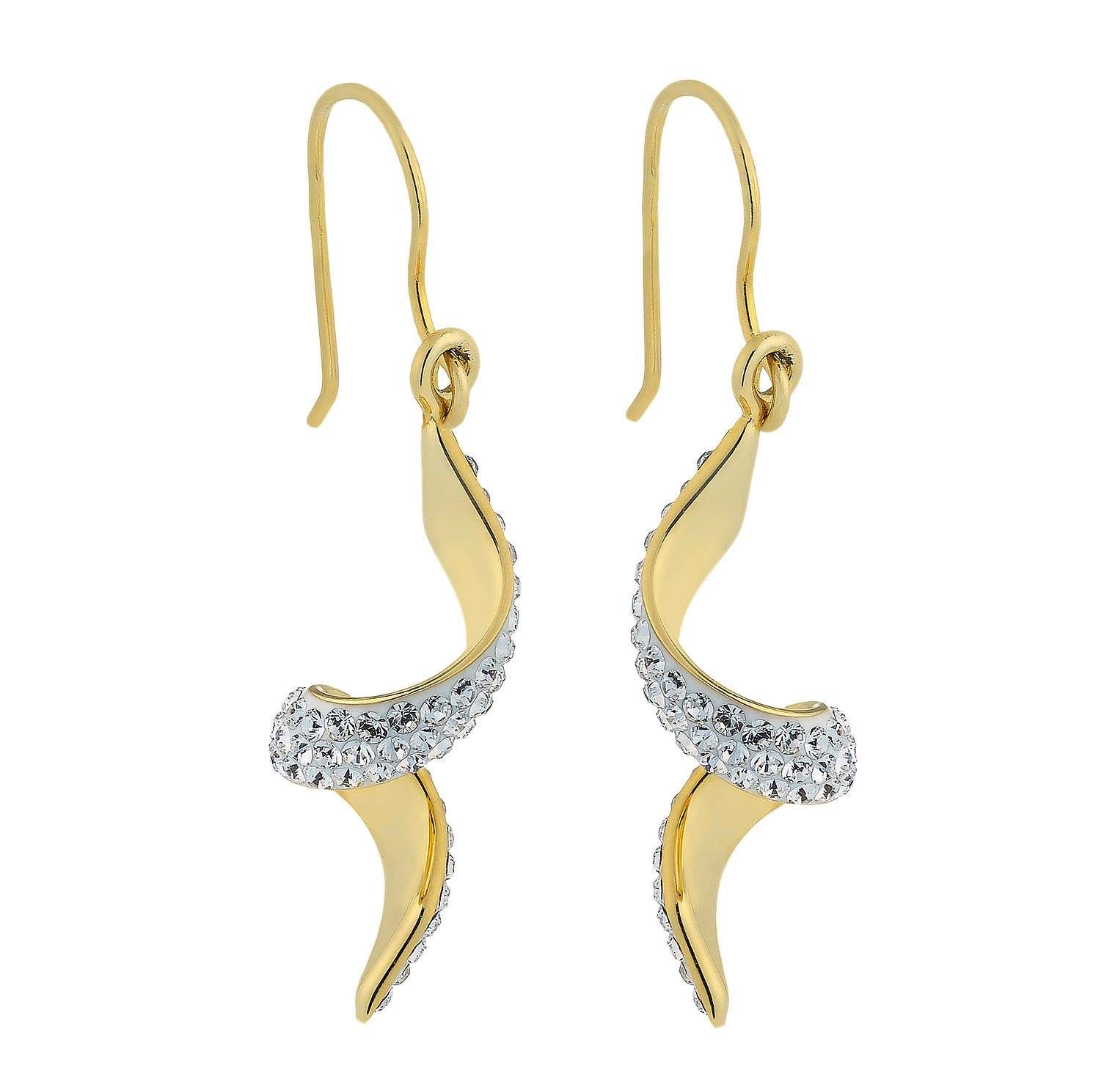 Evoke Silver & Yellow Gold Plated Crystal Set Twist Earrings - Product number 2301350
