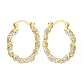 Evoke Silver & Gold Plated Crystal Twist Creole Earrings - Product number 2301369