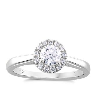 Arctic Light 18ct White Gold 1/2ct Diamond Round Halo Ring - Product number 2304600