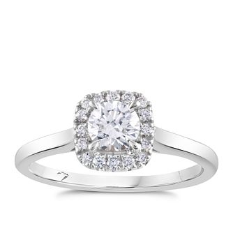 Arctic Light 18ct White Gold 1/2ct Diamond Square Halo Ring - Product number 2304783