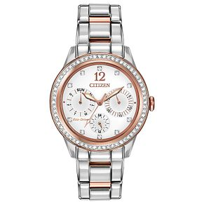 Citizen Eco Drive Ladies' Crystal Set Two Tone Watch - Product number 2305550