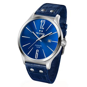TW Steel Slim Line men's blue leather strap watch - Product number 2309971