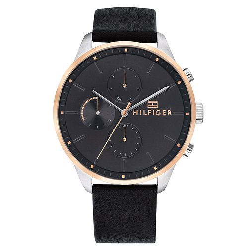 Tommy Hilfiger Chase Men's Black Leather Strap Watch - Product number 2324555