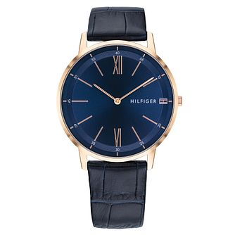 Tommy Hilfiger Cooper Men's Blue Leather Strap Watch - Product number 2325047