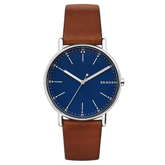Skagen Signatur Men's Brown Leather Strap Watch - Product number 2328151